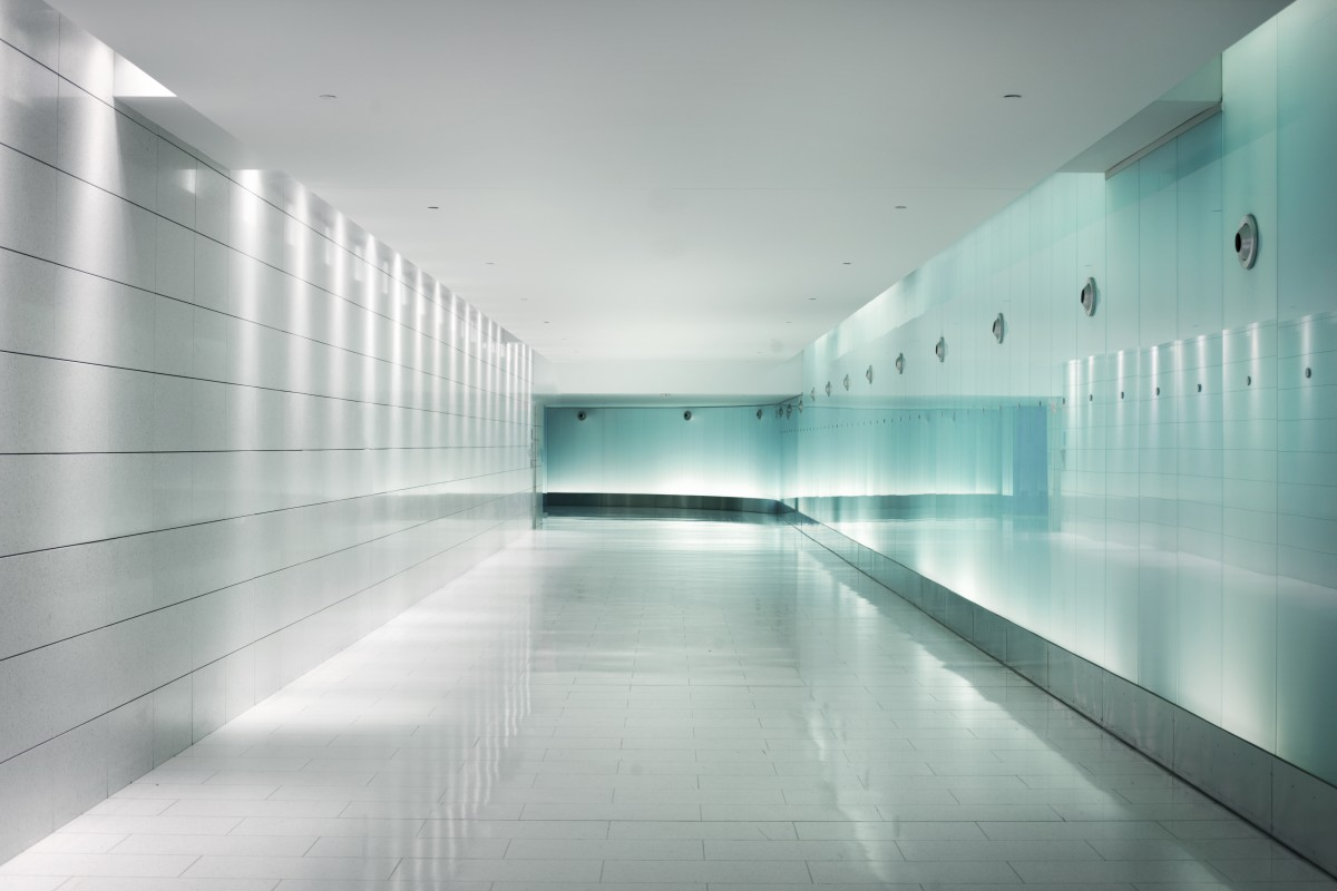 Back Lighted Glass Walls In An Underground Futuristic